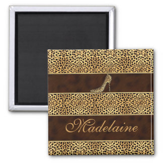Cheetah Print with Heels Square Magnet
