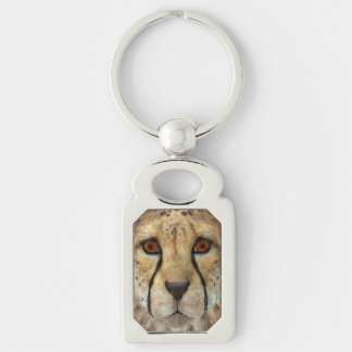 Cheetah Silver-Colored Rectangle Key Ring
