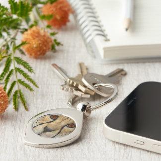 Cheetah Silver-Colored Swirl Key Ring