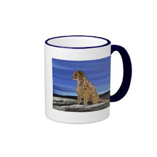 Cheetah under the blue sky ringer mug