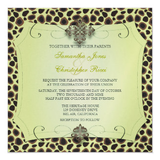 Cheetah, Wedding Invitations (premium gold stock)