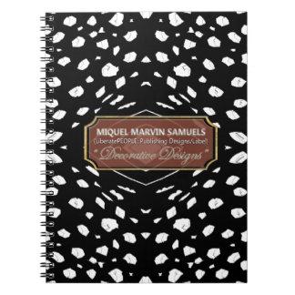 Cheetah White Dots Black Drop Modern Notebook