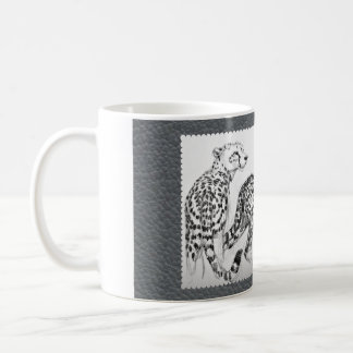 Cheetahs on Grey Faux Leather Coffee Mug