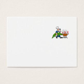 Chef Alligator Spatula BBQ Grill Cartoon Business Card