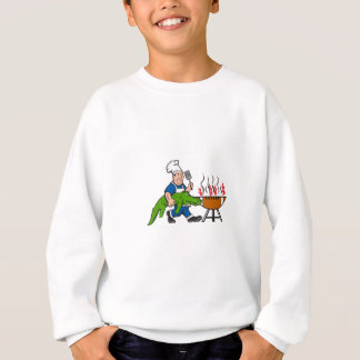 Chef Alligator Spatula BBQ Grill Cartoon Sweatshirt