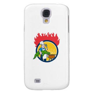 Chef Alligator Spatula BBQ Grill Fire Circle Carto Galaxy S4 Case