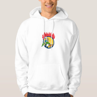 Chef Alligator Spatula BBQ Grill Fire Circle Carto Hoodie