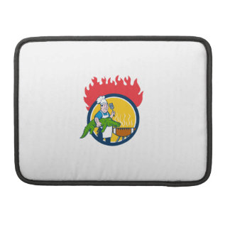 Chef Alligator Spatula BBQ Grill Fire Circle Carto Sleeve For MacBook Pro