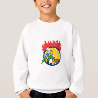 Chef Alligator Spatula BBQ Grill Fire Circle Carto Sweatshirt