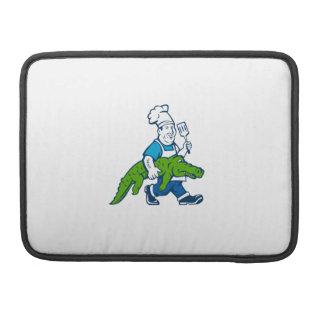 Chef Alligator Spatula Walking Cartoon Sleeve For MacBooks