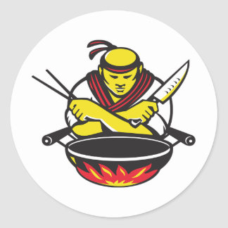 Chef And A Wok Round Sticker