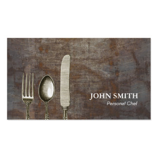 Chef Antique Silverware Rusty Background Vintage Pack Of Standard Business Cards