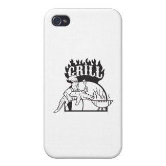 Chef Carry Alligator Grill Cartoon iPhone 4/4S Cases