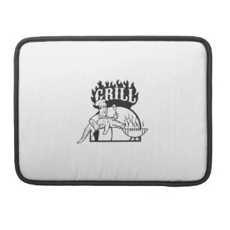 Chef Carry Alligator Grill Cartoon Sleeve For MacBooks