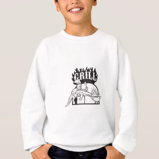Chef Carry Alligator Grill Cartoon Sweatshirt