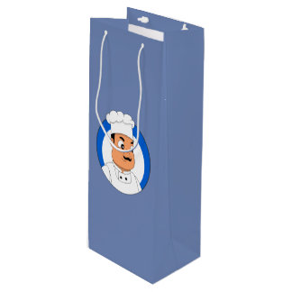 Chef cartoon wine gift bag