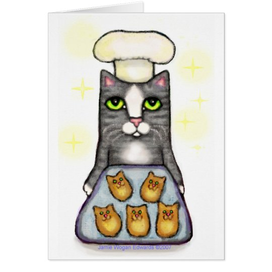 Chef Cat Baking Greeting Card