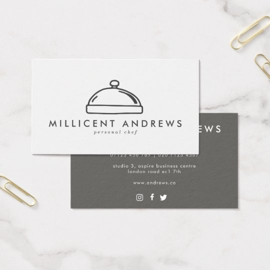 Chef/Caterer Cloche Icon Business Card