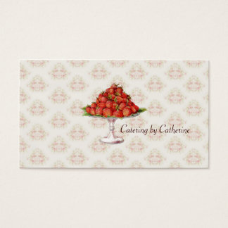 Chef Catering Strawberries Vintage Pink Business Business Card