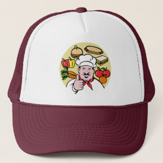 Chef cook baker thumbs up fruit sandwich food trucker hat