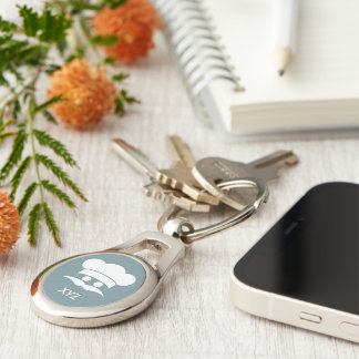 Chef custom color & monogram key chain Silver-Colored oval key ring