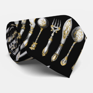 Chef cutlery kitchen utensils tie