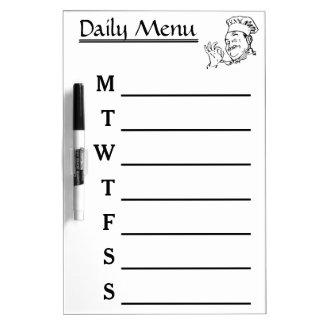 Chef Daily Menu Weekly Menu calendar Dry Erase Board