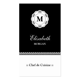 Chef de Cuisine Black White Lace Monogram Pack Of Standard Business Cards