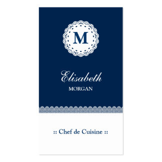Chef de Cuisine Blue White Lace Monogram Pack Of Standard Business Cards