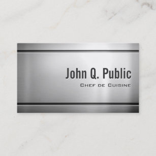 Executive chef business cards zazzle au chef de cuisine cool stainless steel metal business card reheart Image collections