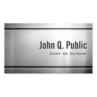 Chef de Cuisine - Cool Stainless Steel Metal Pack Of Standard Business Cards