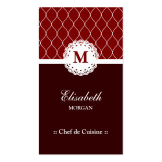 Chef de Cuisine Elegant Brown Lace Pattern Pack Of Standard Business Cards