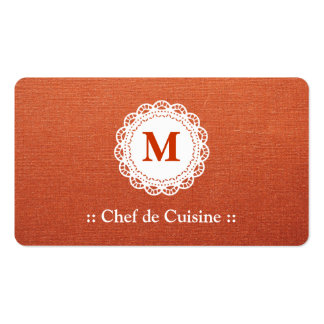 Chef de Cuisine Elegant Lace Monogram Pack Of Standard Business Cards