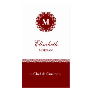 Chef de Cuisine Elegant Red Lace Monogram Pack Of Standard Business Cards