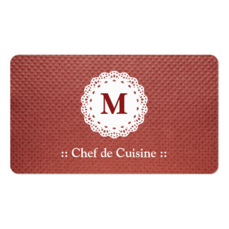 Chef de Cuisine Lace Monogram Maroon Pack Of Standard Business Cards
