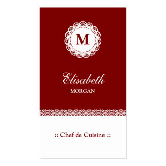 Chef de Cuisine Red White Lace Monogram Pack Of Standard Business Cards