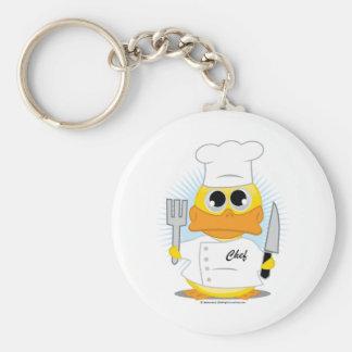 Chef Duck Basic Round Button Key Ring