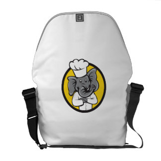 Chef Elephant Arms Crossed Circle Cartoon Commuter Bags