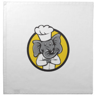 Chef Elephant Arms Crossed Circle Cartoon Napkin