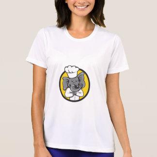 Chef Elephant Arms Crossed Circle Cartoon T-Shirt