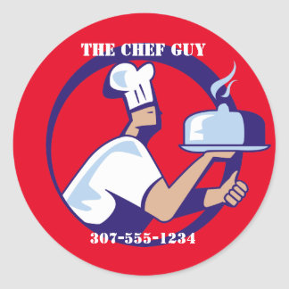 Chef hat dome platter catering food delivery round sticker
