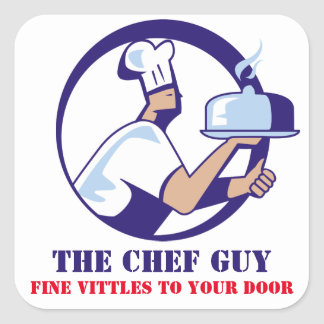 Chef hat dome platter catering food delivery square sticker