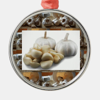 Chef Healthy Eating Cuisine Art Garlic Seasoning Silver-Colored Round Decoration