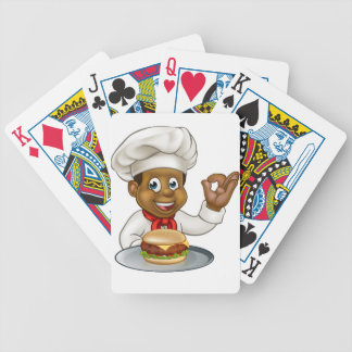 Chef Holding Burger Cartoon Character Bicycle Playing Cards