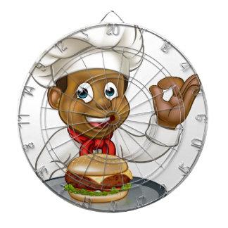 Chef Holding Burger Cartoon Character Dartboard