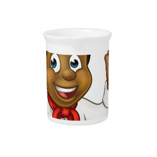 Chef Holding Burger Cartoon Character Pitcher