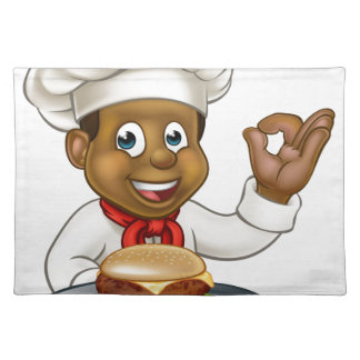 Chef Holding Burger Cartoon Character Placemat