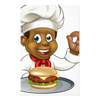 Chef Holding Burger Cartoon Character Stationery