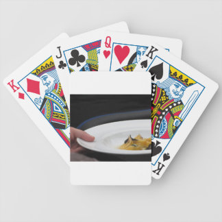 Chef holding cooked handmade Agnolotti to serve Bicycle Playing Cards