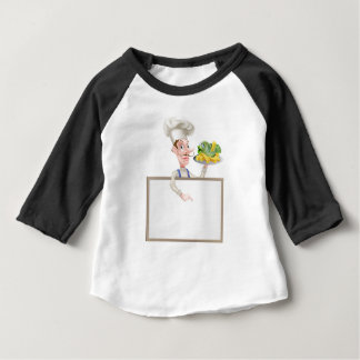 Chef Holding Fish and Chips Pointing at Sign Baby T-Shirt